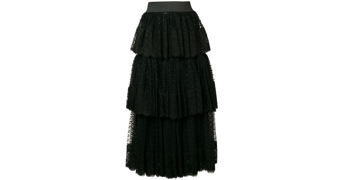 41765f119 Dolce & Gabbana Pleated Layered Tulle Skirt in Black - Save 54% - Lyst
