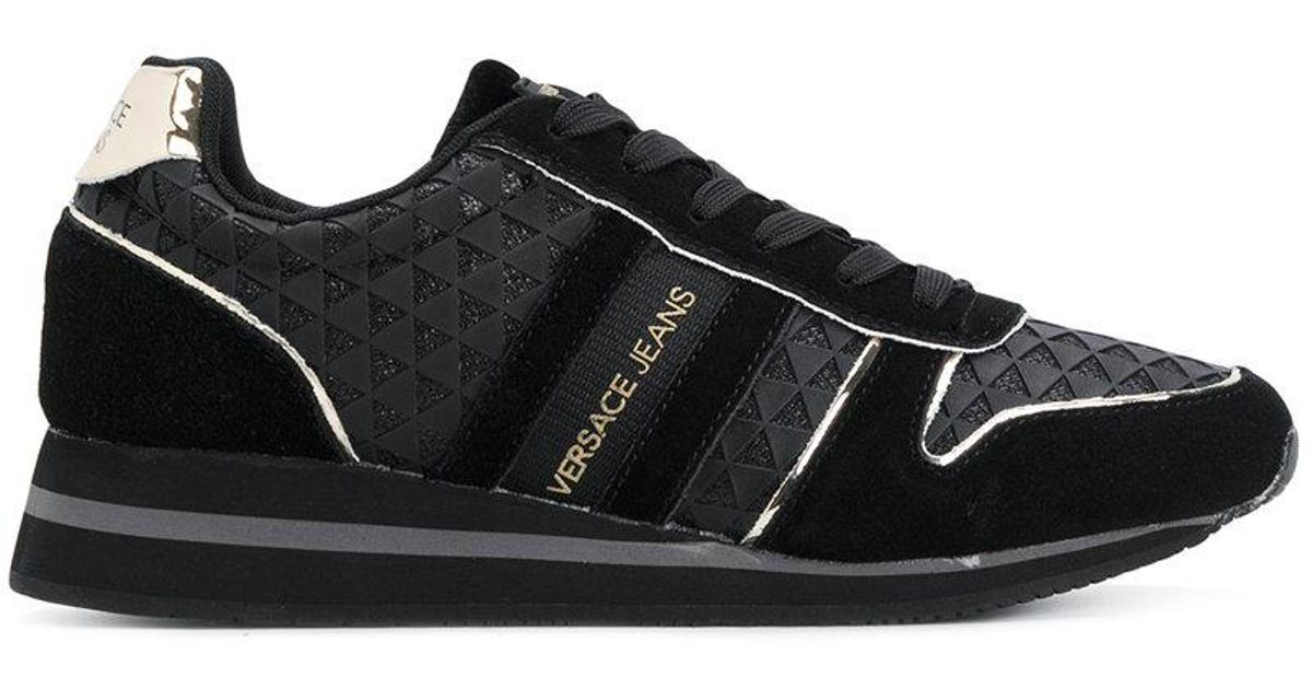 4168d5f41df Versace Jeans Side Stripe Detail Sneakers in Black for Men - Lyst