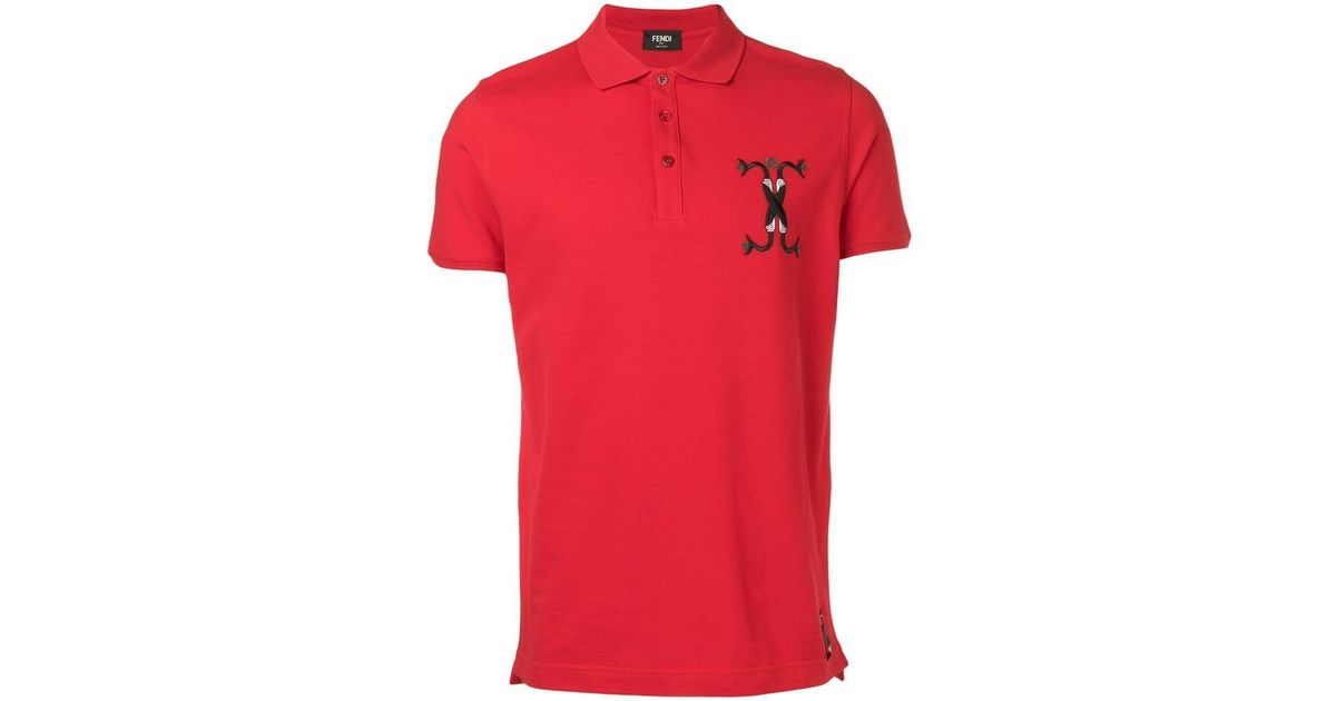 65a6733bf Fendi Embroidered Snake Motif Polo Shirt in Red for Men - Lyst