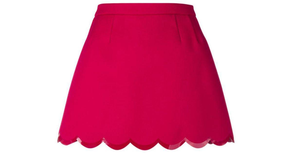 eaf4eedb3d48 RED Valentino Scalloped Hem Mini Skirt in Red - Lyst