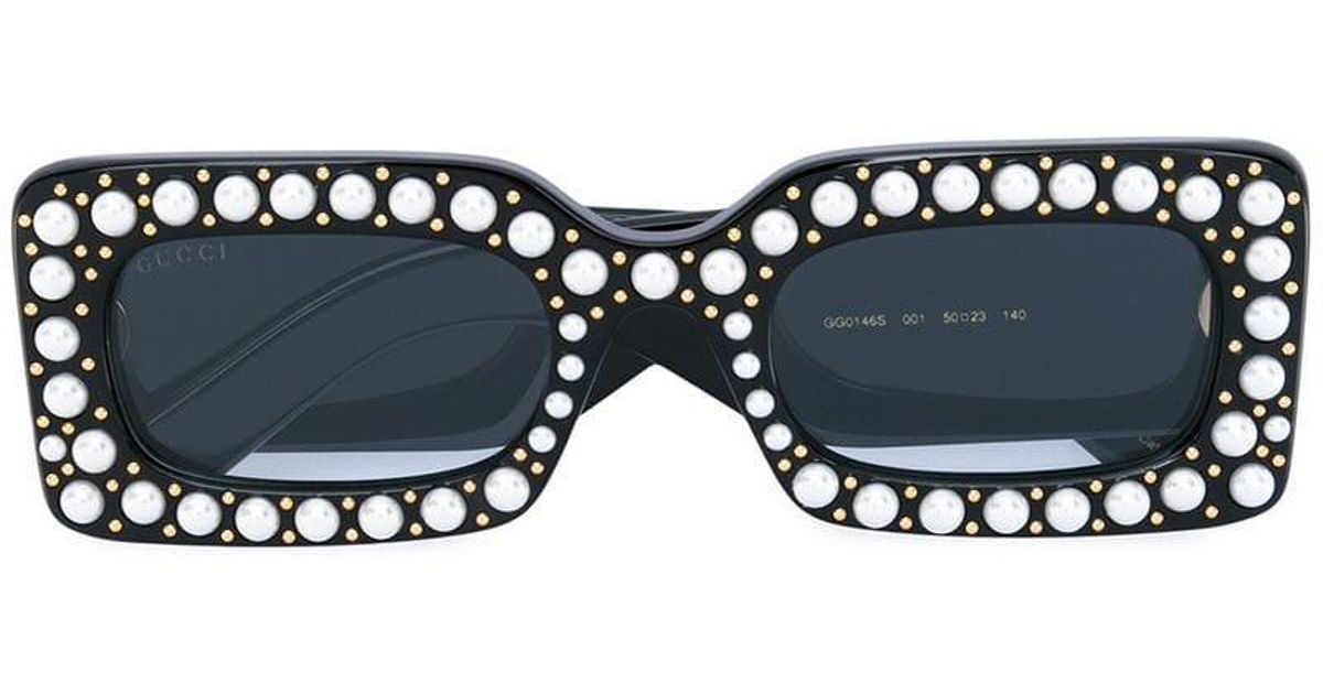 4cdcc2a172a Gucci Pearl Embellished Sunglasses in Black - Lyst