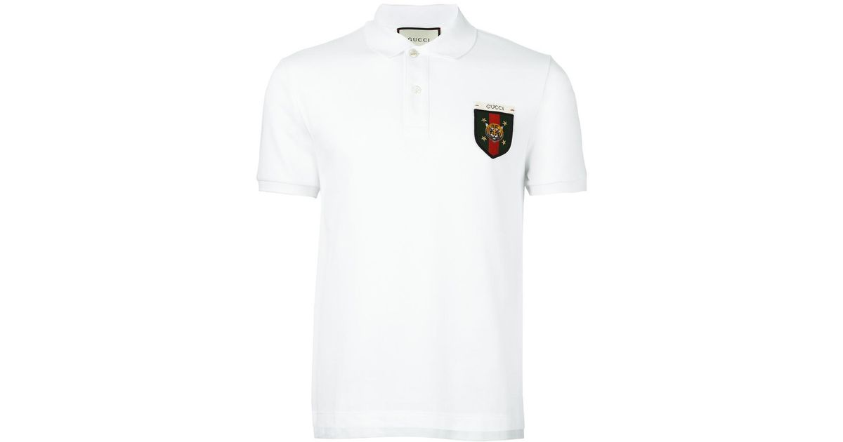 3849d73ef2cb76 Gucci Web Tiger Crest Polo Shirt in White for Men - Lyst