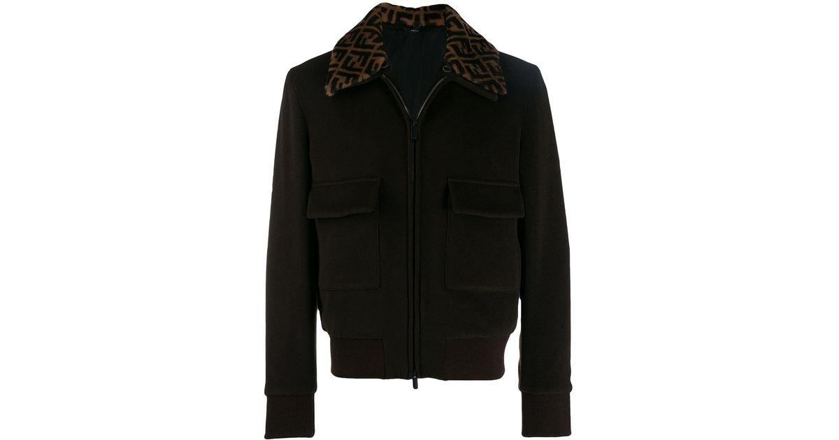 16f86760a Fendi Brown Ff Collar Bomber Jacket for men
