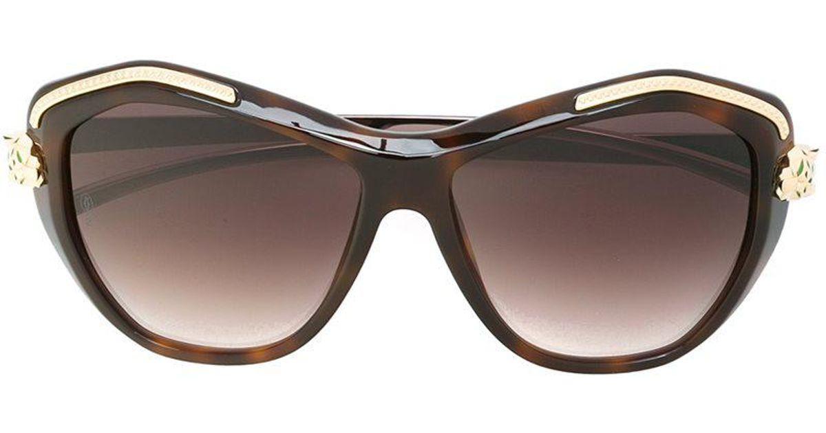 1d4933e96d Cartier  panthère Wild  Sunglasses in Brown - Lyst