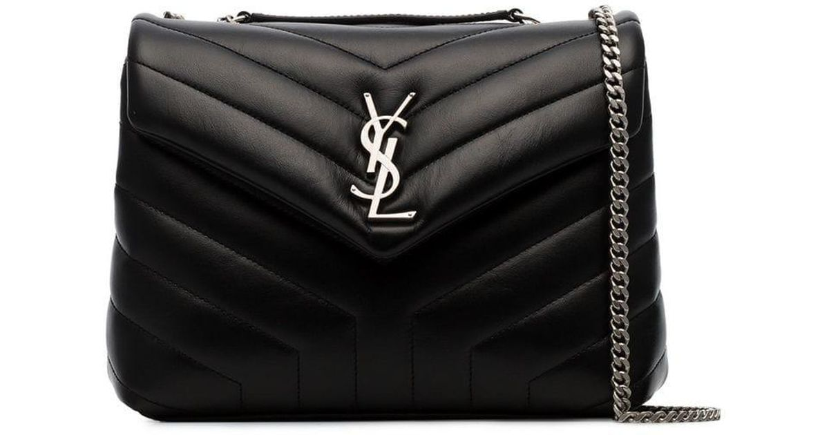 968d896ba5 Saint Laurent Black Loulou Small Quilted Leather Crossbody Bag in Black -  Lyst