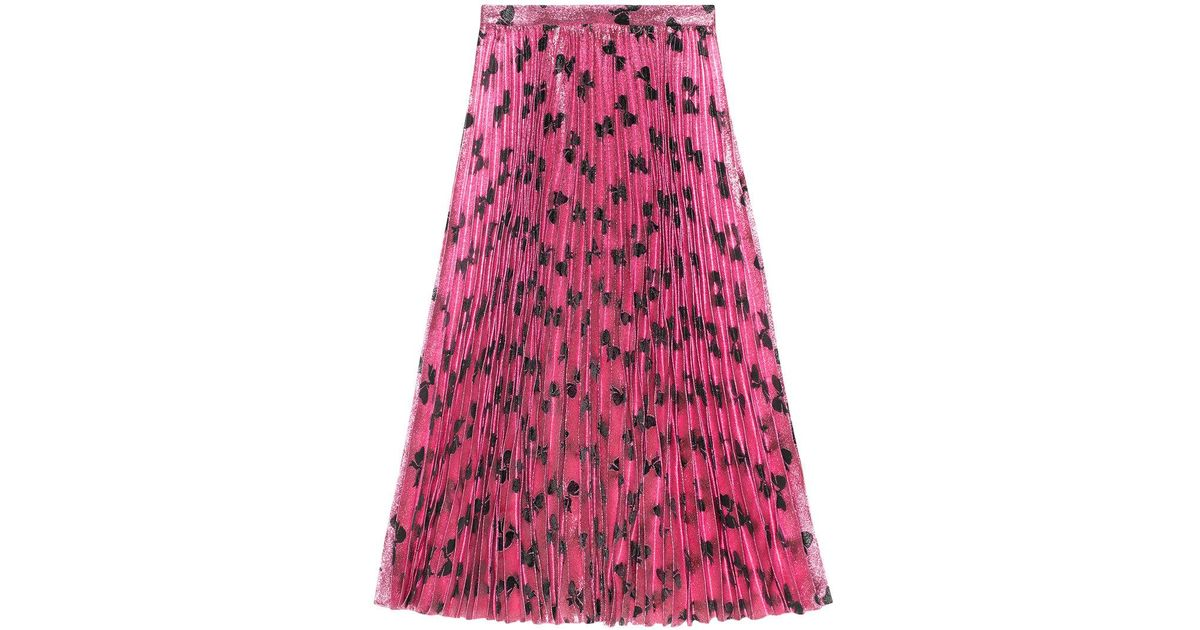 c8a34571e Gucci Iridescent Bow Lurex Pleated Skirt in Pink - Lyst