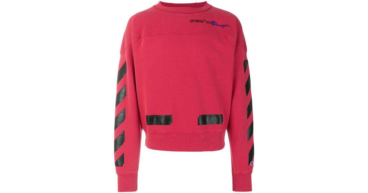 7df96f8c8e63 Lyst - Off-White c o Virgil Abloh Champion Tape Detail Sweatshirt in Red  for Men