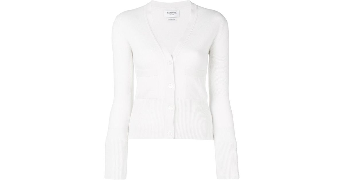 Buy Cheap Enjoy Clearance 2018 drop stitch cardigan - White Thom Browne Outlet Cheap Prices Cheap Sale Clearance Store tt1h2ss