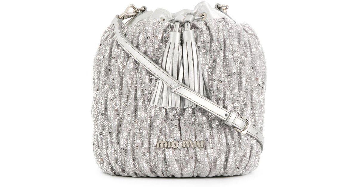 Lyst - Miu Miu Sequin Embellished Bucket Bag in Metallic 67b7f2a993