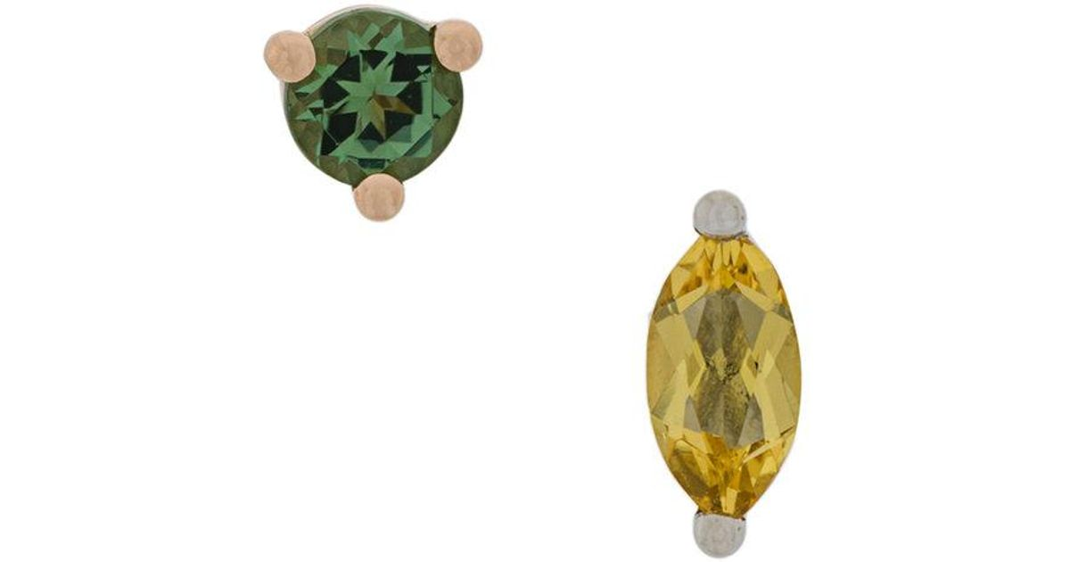 18kt gold Dots Solitaire peridot and aquamarine earrings - Metallic Delfina Delettrez 3uVIhCbELY