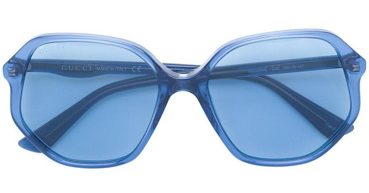 dab0fcc86b Lyst - Gucci Clear Oversized Glasses in Blue