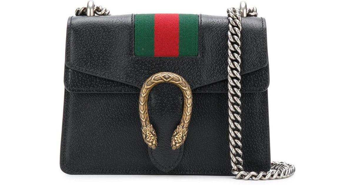 c56645b64be Lyst - Gucci Gg Web Dionysus Shoulder Bag in Black