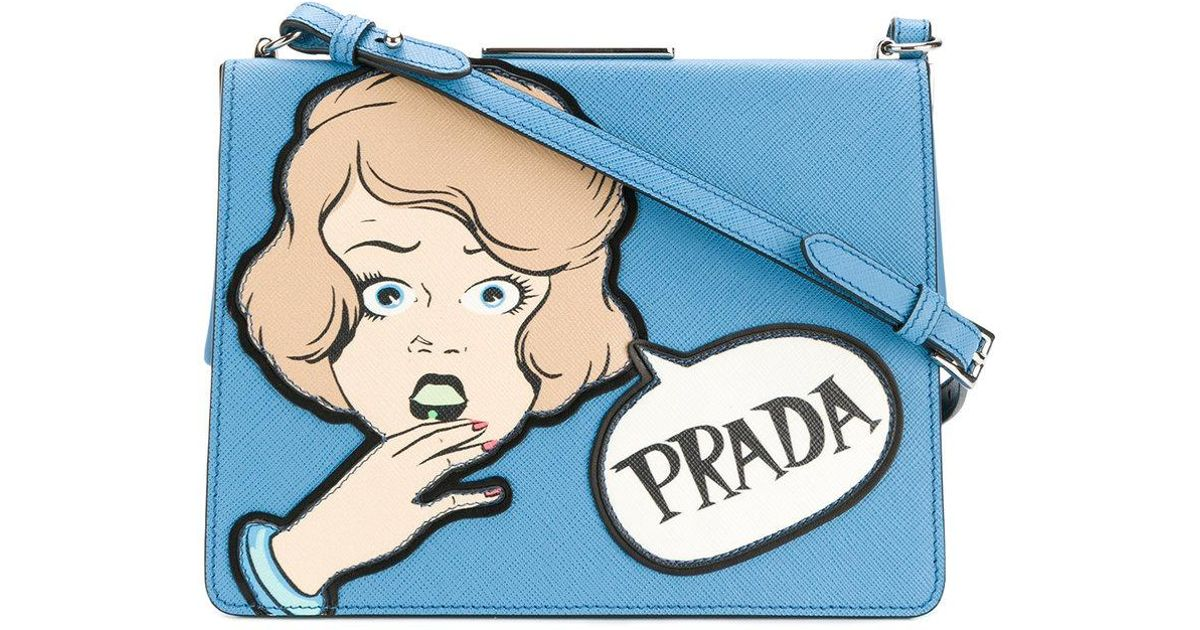 4b6303dfd59 Lyst - Prada Cartoon Shoulder Bag in Blue