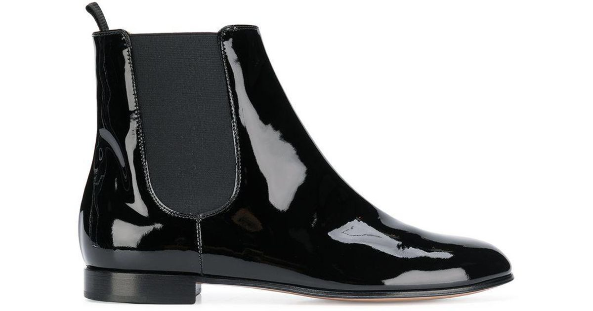 6b2f80bad0e82 Gianvito Rossi Black Varnish Chelsea Ankle Boots