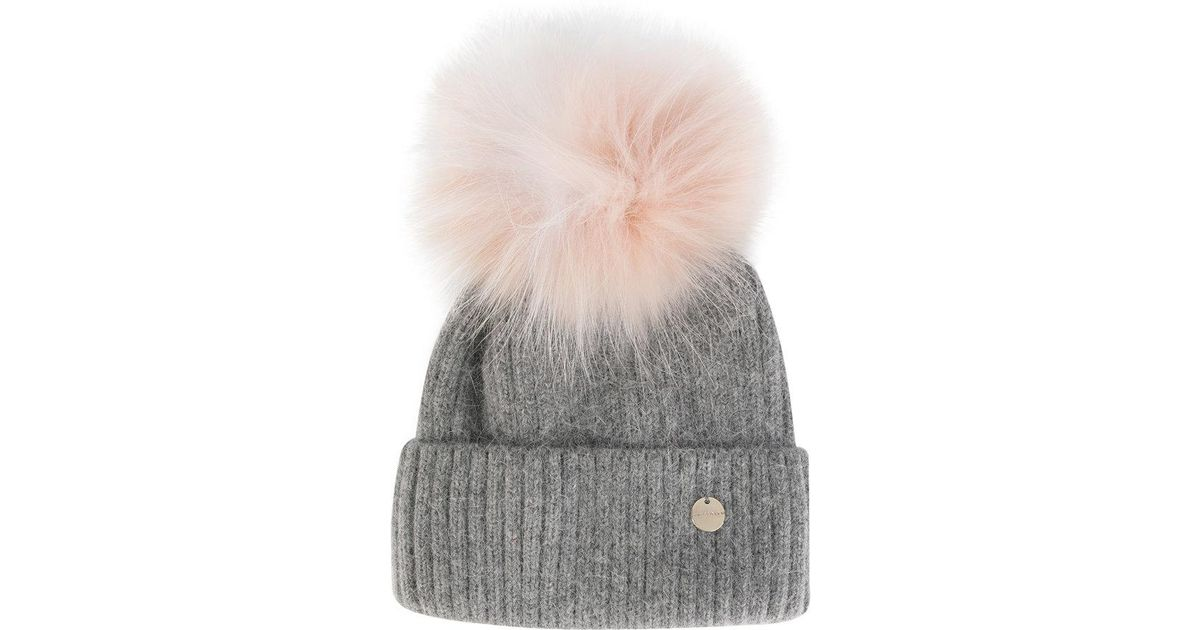 a1a6518ad9a Lyst - Yves Salomon Removable Pom Pom Knit Hat in Gray