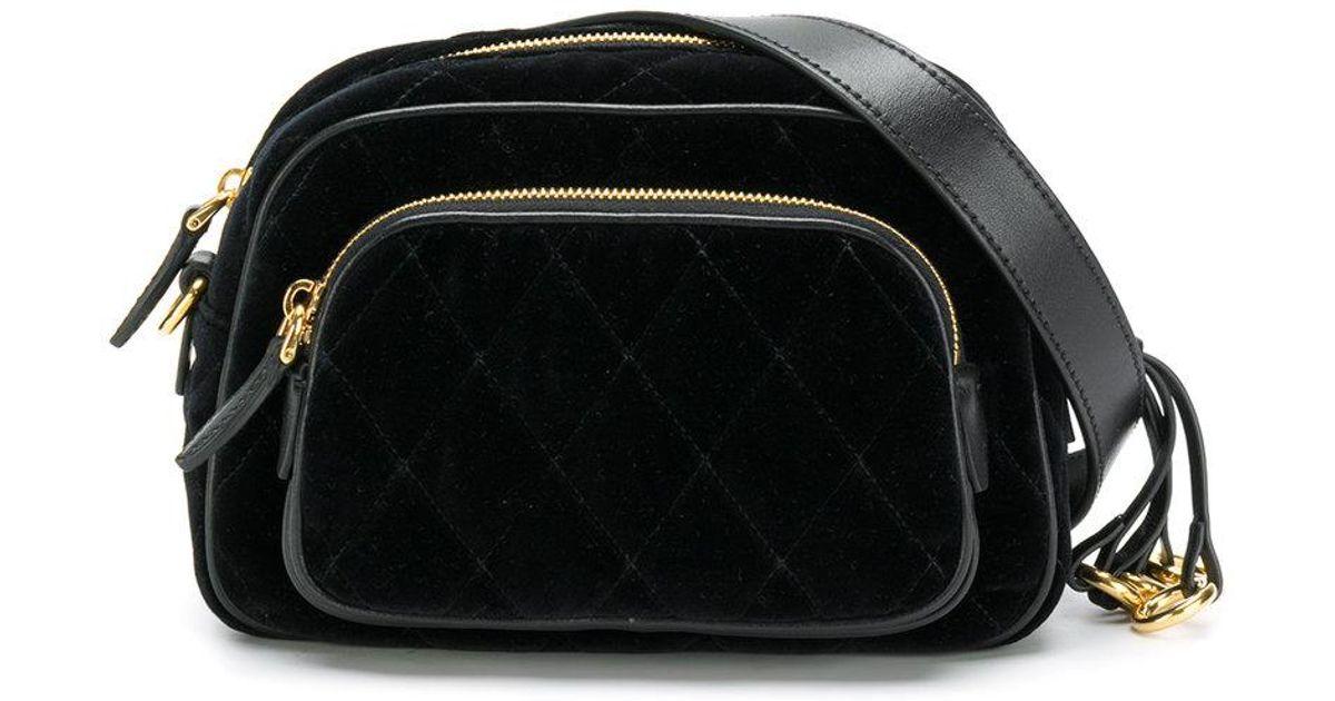076b1724f7ccc Prada Quilted Velvet Hip Bag in Black - Lyst