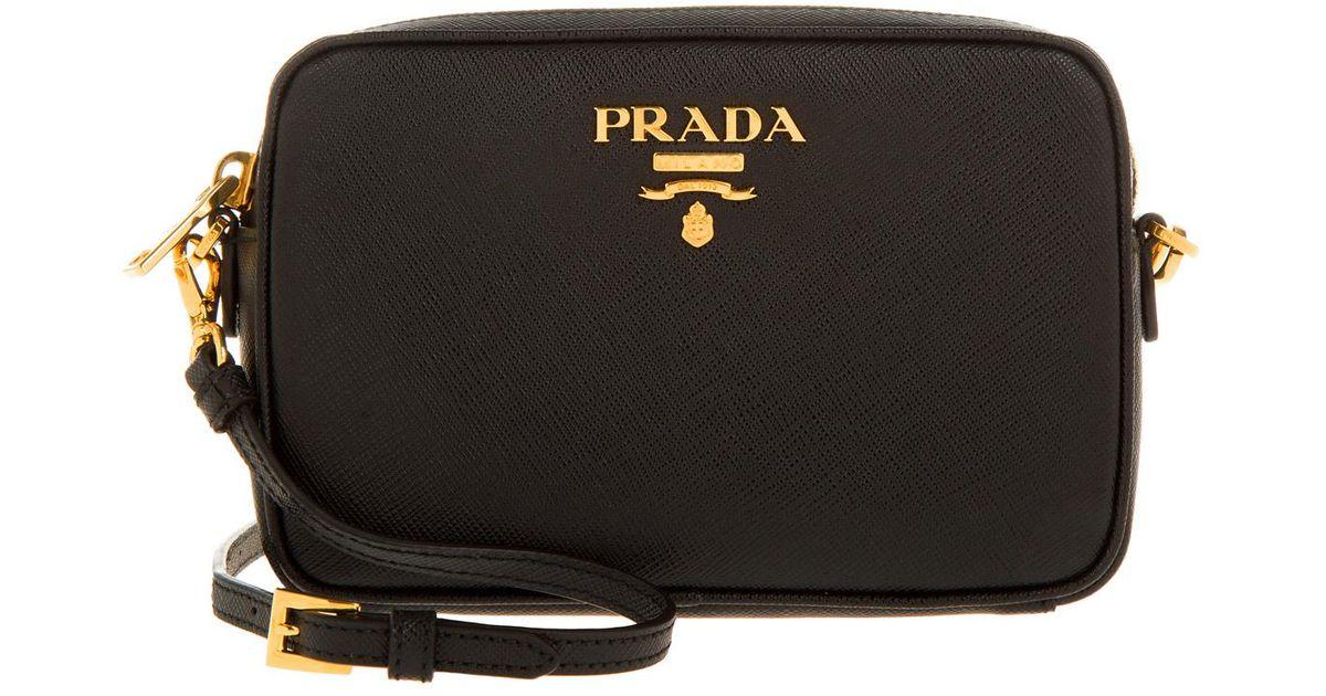 buy online 6ee40 f6612 Prada Black Contenitore Tracolla Saffiano Crossbody Bag Nero