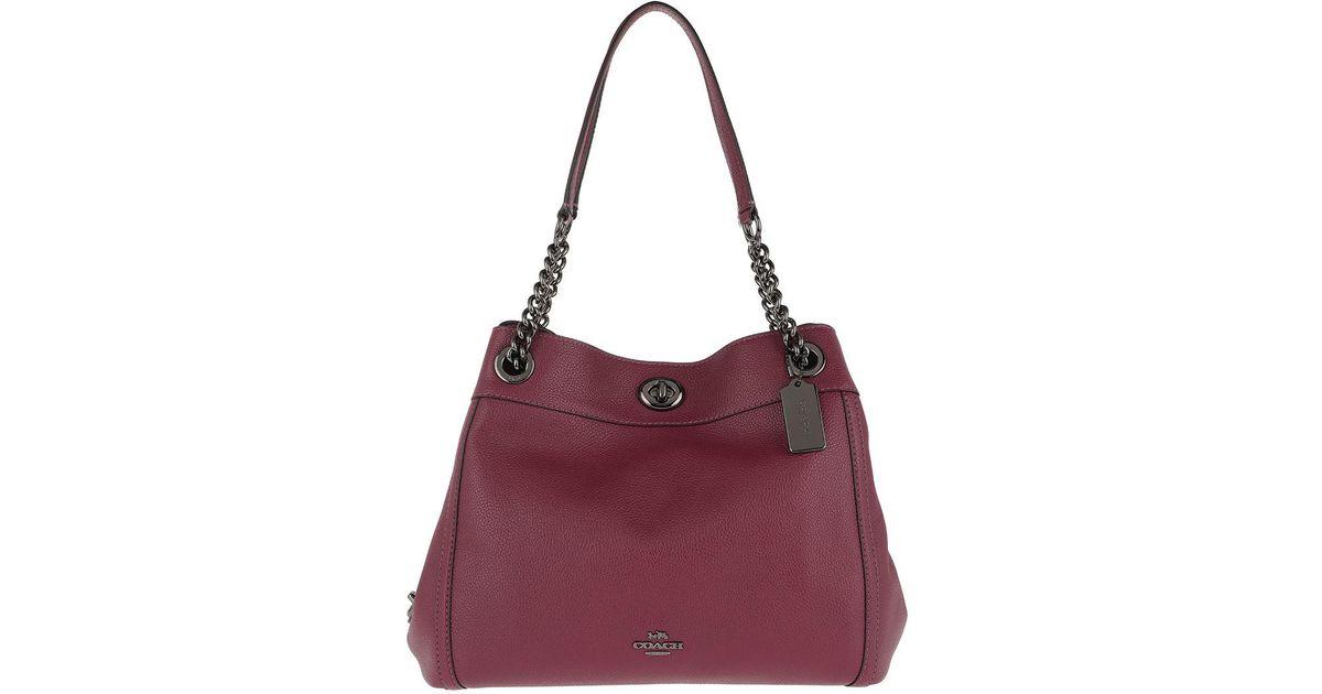 COACH Polished Leather Turnlock Edie Shoulder Bag Dark Berry in Red - Lyst b79266206f0ca