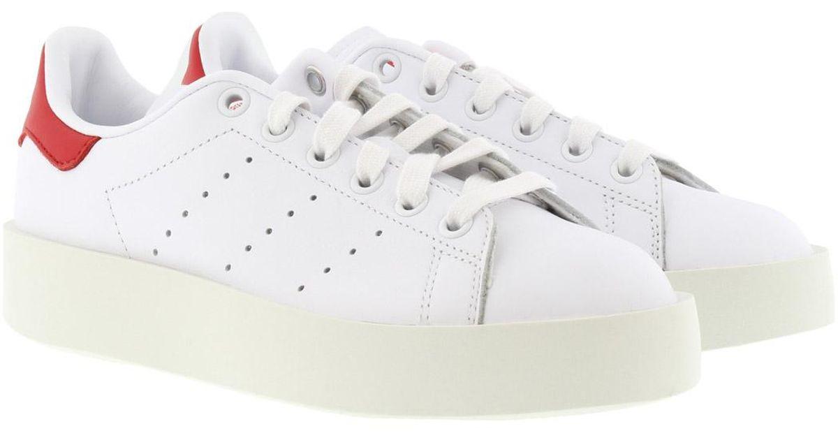 e0522f374a47 adidas Originals Stan Smith Bold Sneaker White white red in White - Lyst
