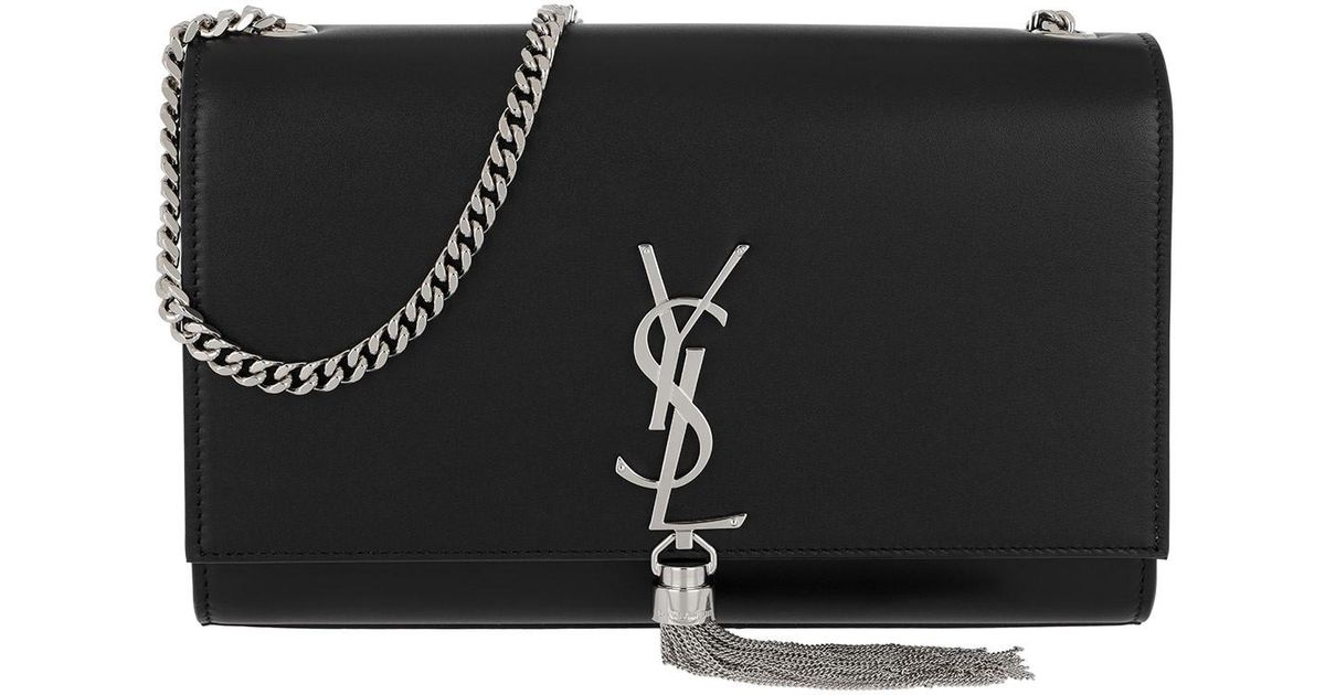 f7ab110bae Saint Laurent Metallic Ysl Monogramme Medium Chain Bag Silver Black