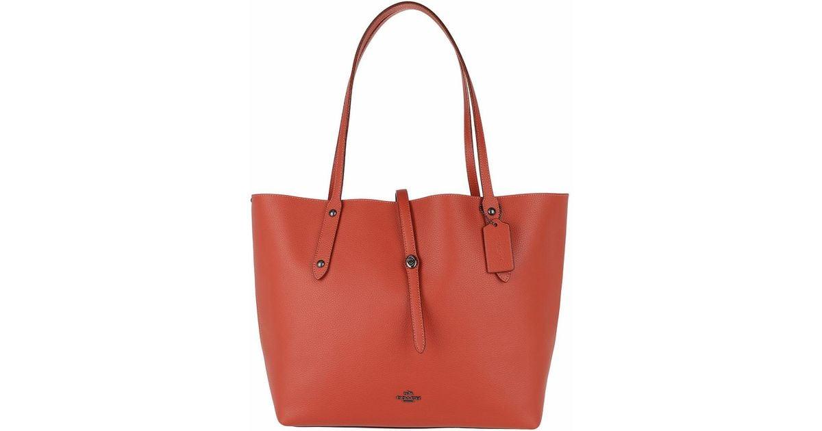 Tote - Metallic Lining Market Tote Vermillion/Metallic Brick - orange - Tote for ladies Coach z6bYoAQo