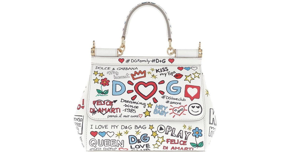 Dolce   Gabbana Sicily Mini Bag Mural Print Leather White in White - Lyst d04bc63c5b3a7