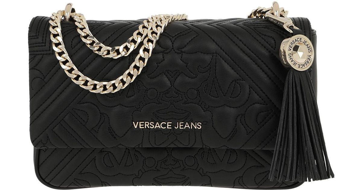 4069e46e0269 Versace Jeans Embroidered Chain Crossbody Bag Black in Black - Lyst