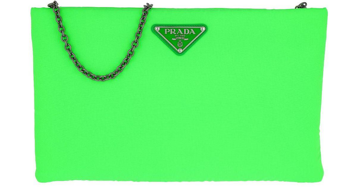9deb4fab081ee5 Prada Clutch Padded Nylon 2 Neon Green in Green - Lyst