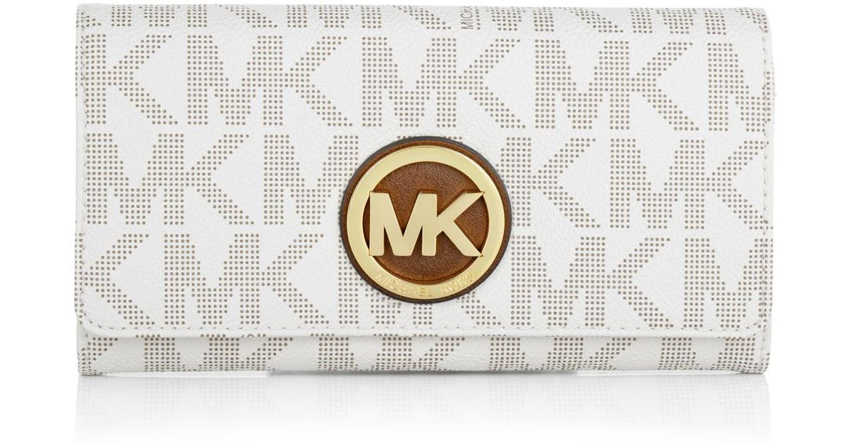 db7aa0aa0db8 ... Gold Violet Perforated Leather Clutch Michael Kors Fulton Carryall  Wallet Vanillagold in Metallic ...