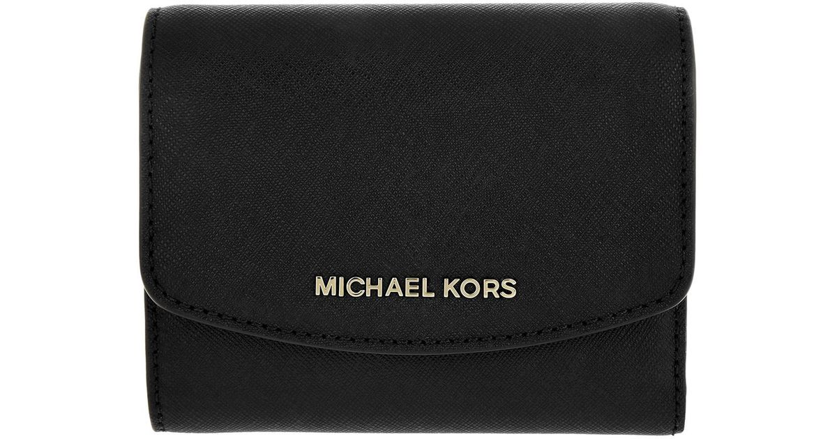 028418e98dce Michael Kors Money Pieces Sm Trifold Wallet Black in Black - Lyst