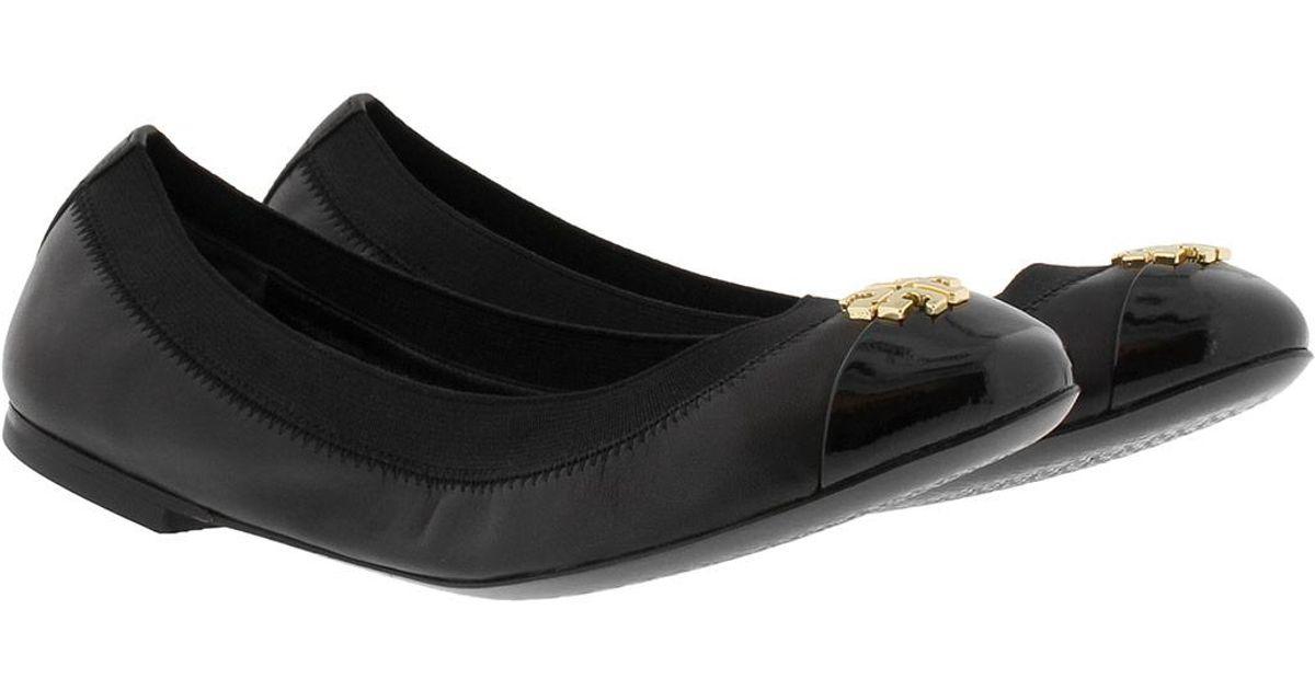 7459e04b533 Tory Burch Jolie Ballet Ballerina Patent Leather Black in Black - Lyst