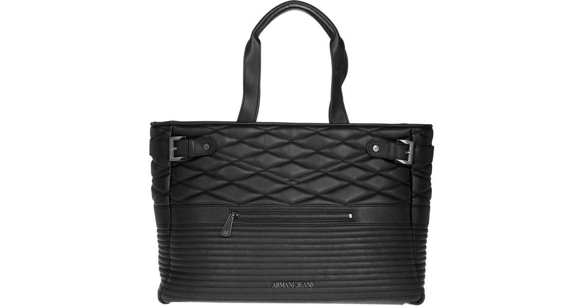 d9a5511f7cd Armani Jeans Biker Quilted Shopping Bag Pvc Nero - Lyst