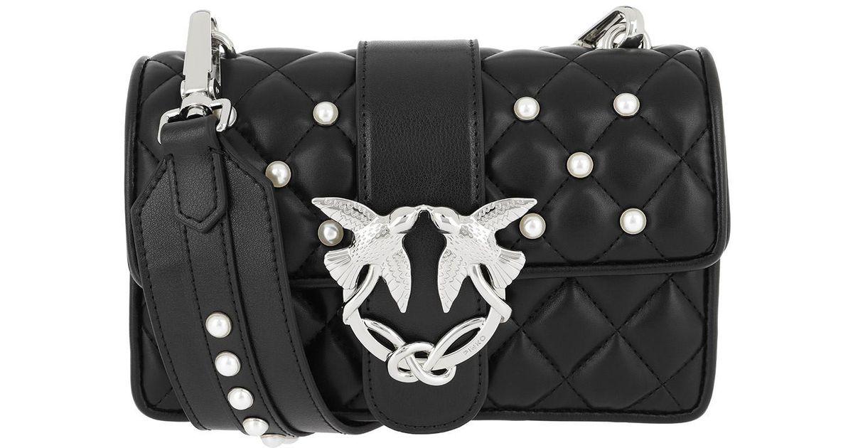 206745c215 Pinko Black Mini Love Pearls Shoulder Bag Nero