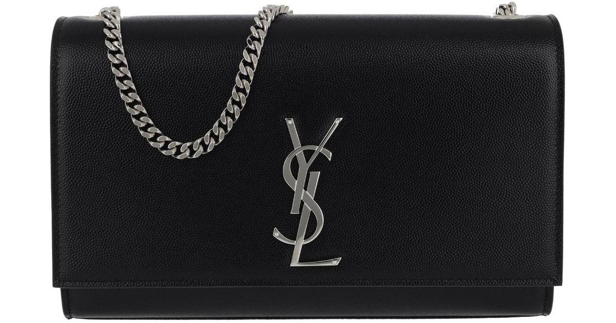 ffe49d5fd6 Saint Laurent Ysl Monogramme Chain Clutch Grain De Poudre Black in Black -  Lyst