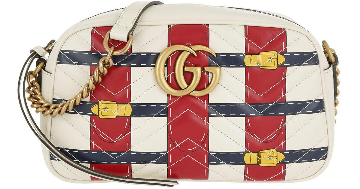 ce0a77f945c Gucci Gg Marmont Mini Crossbody Camera Bag Trompe-l oeil-print White in  White - Lyst