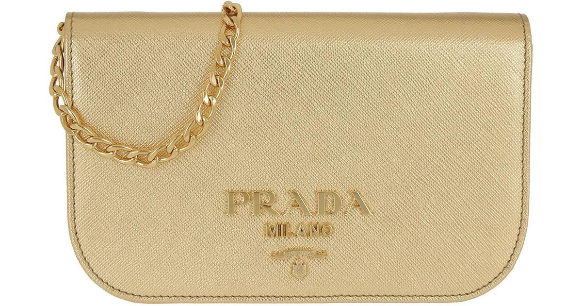 Cross Body Bags - Saffiano Lux Crossbody Bag Calf Leather Gold - gold - Cross Body Bags for ladies Prada bEDsk