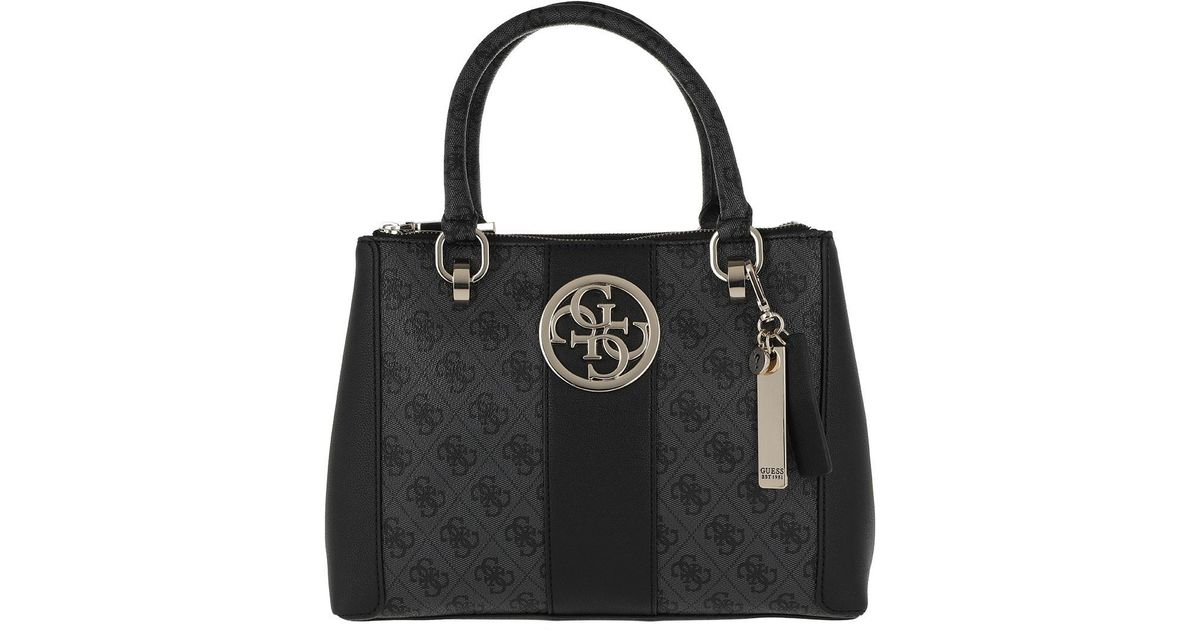 eb8b5aacc5397 Guess Bluebelle Status Satchel Coal in Black - Lyst
