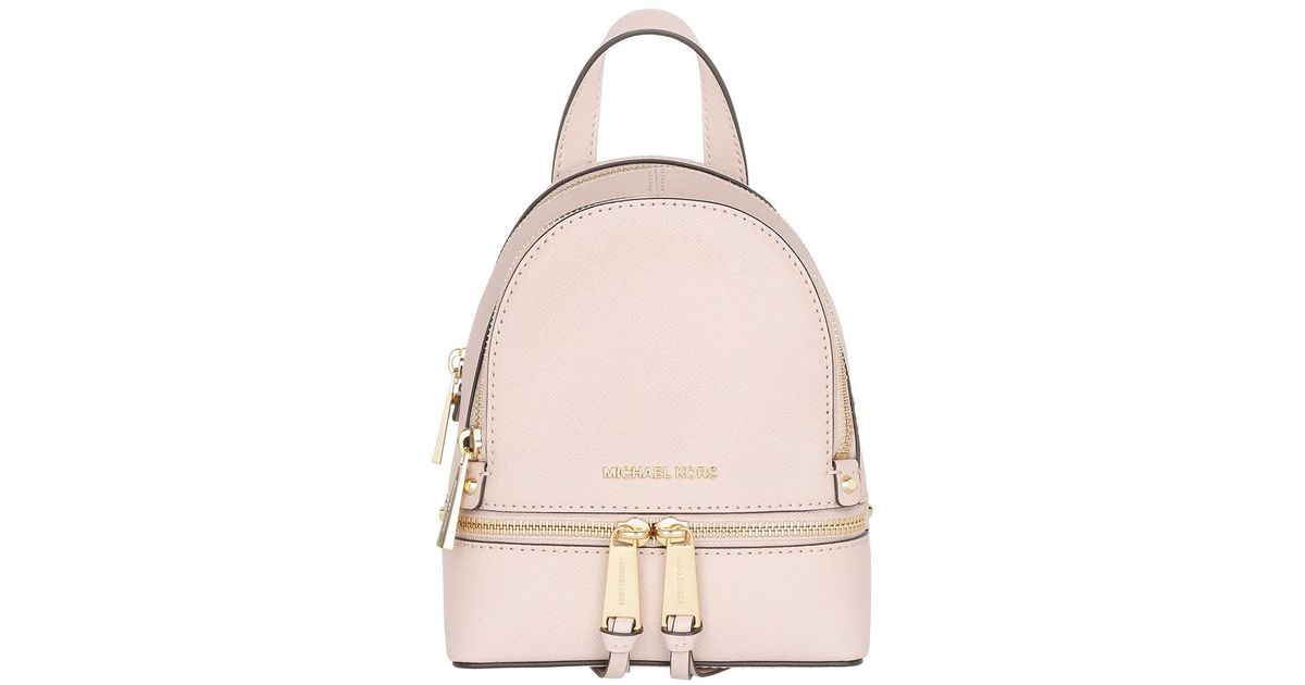 1970fc9bfec5 ... reduced michael kors rhea zip xs leather messenger backpack soft pink  in pink lyst db709 b808b