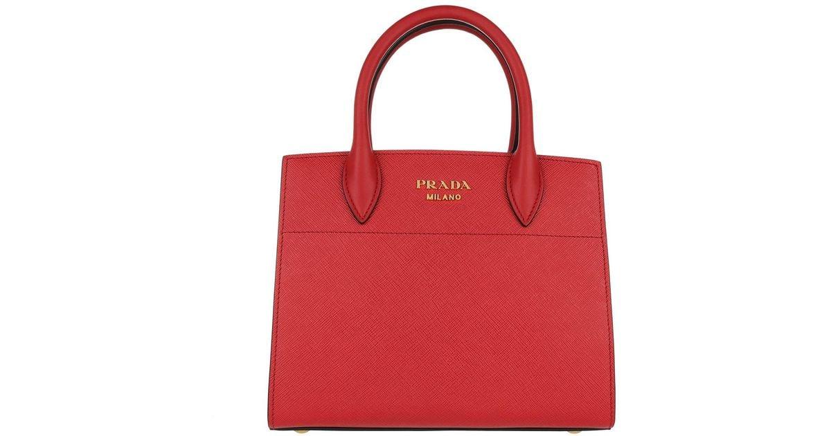 b265bb9b6c73 Prada Bibliotheque Tote Bag Small Saffiano Rosso bianco in Red - Lyst