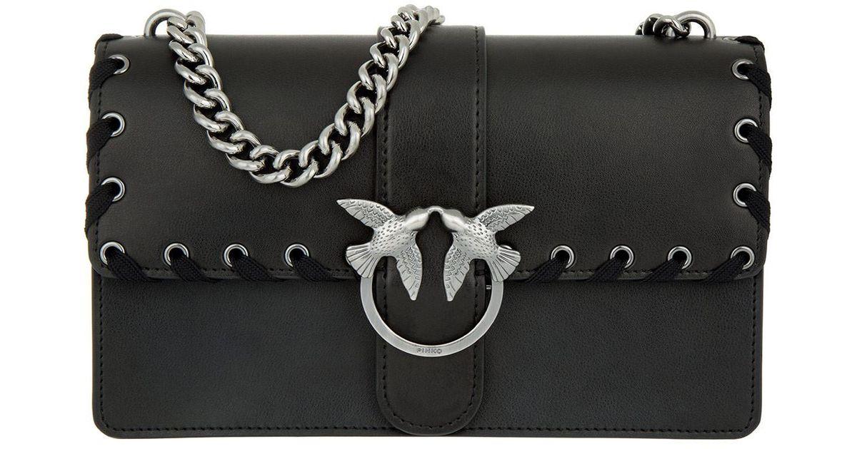 213e7fdd5c3 Pinko Love Laces Cross Body Bag Black in Black - Lyst