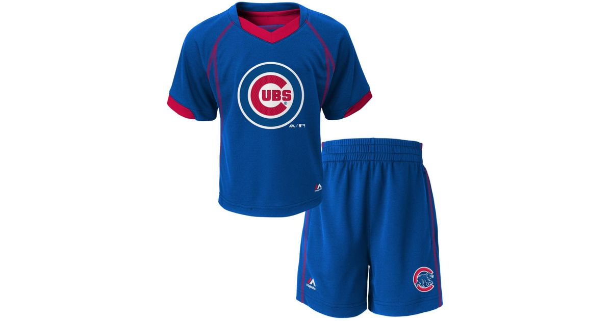 buy online 167d8 eaa7f Majestic - Blue Babies' Chicago Cubs Shirt And Shorts Set for Men - Lyst