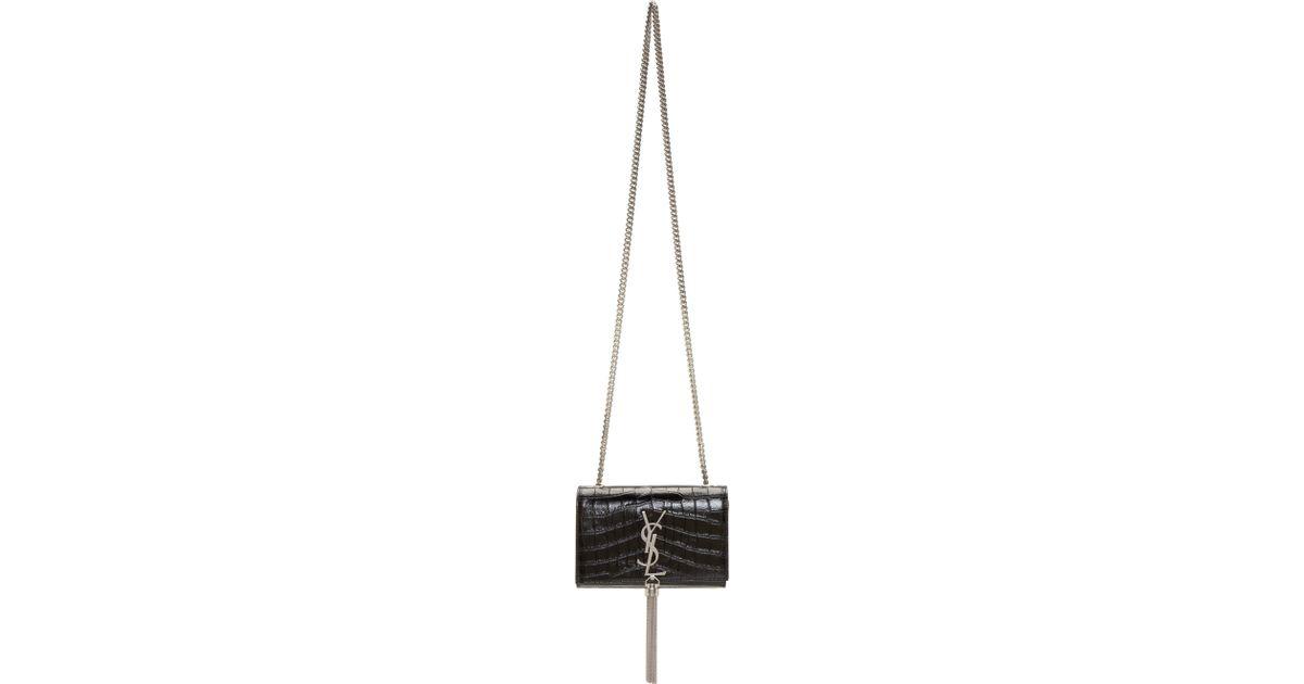 ysl men bag - monogram small croc-stamped shoulder bag, white