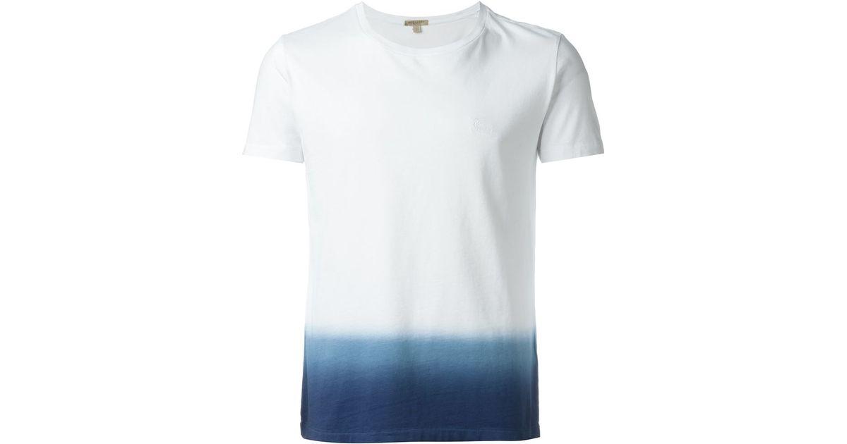 Burberry brit dip dye t shirt in blue for men white lyst for Mens dip dye shirt
