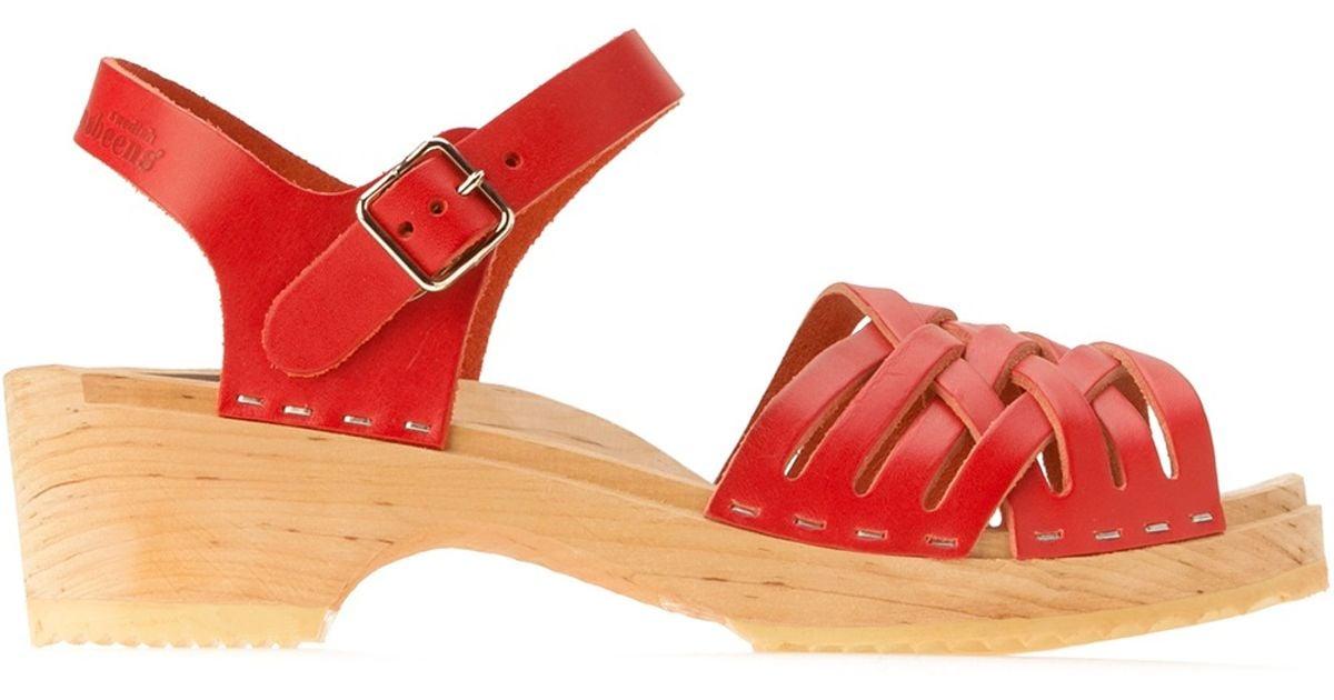 Braided Clog Hasbeens Swedish Sandal Red AcjL5q34R