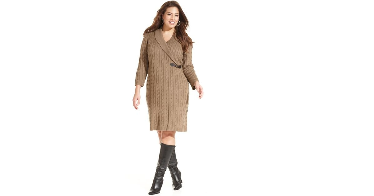 Calvin Klein Natural Plus Size Cable Knit Sweater Dress