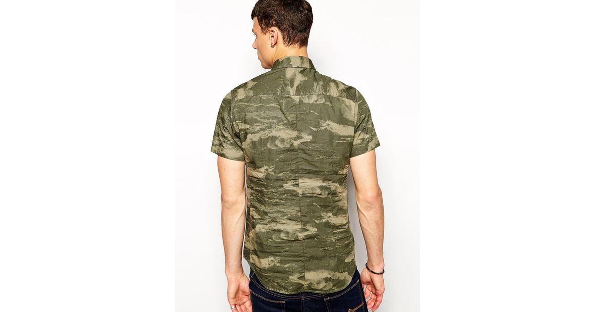 G-Star RAW G Star Shirt Troupman Short Sleeve Wave Camo In