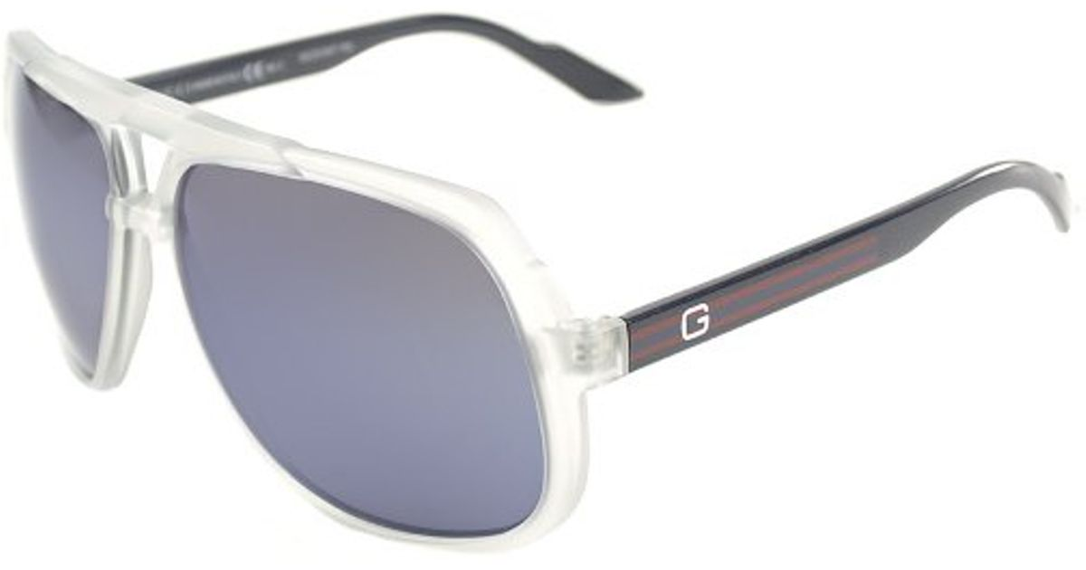 7f0a8542096 Lyst - Gucci Gg 1622 U75 Xt Matte Crystal Blue Plastis Aviator Sunglasses  Blue Mirrror Lens in White