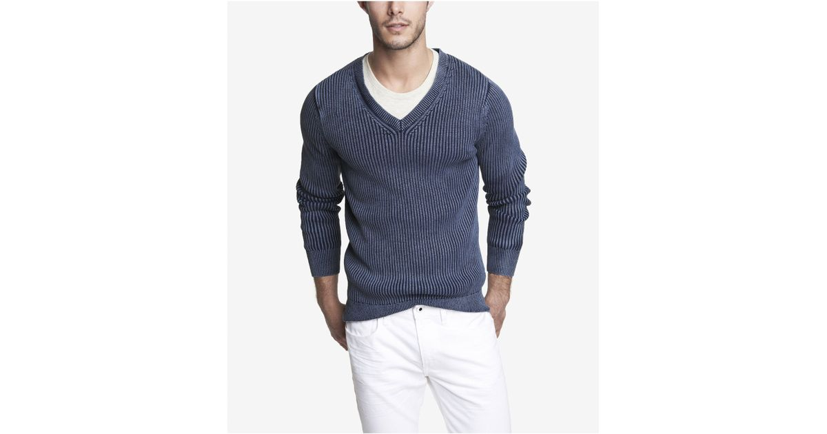 Lyst express acid wash ribbed vneck sweater in blue for men for Express wash roma