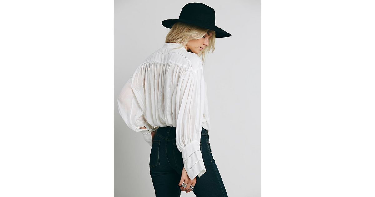 609901c28f7 Free People Fp One Tie Front Blouse in White - Lyst