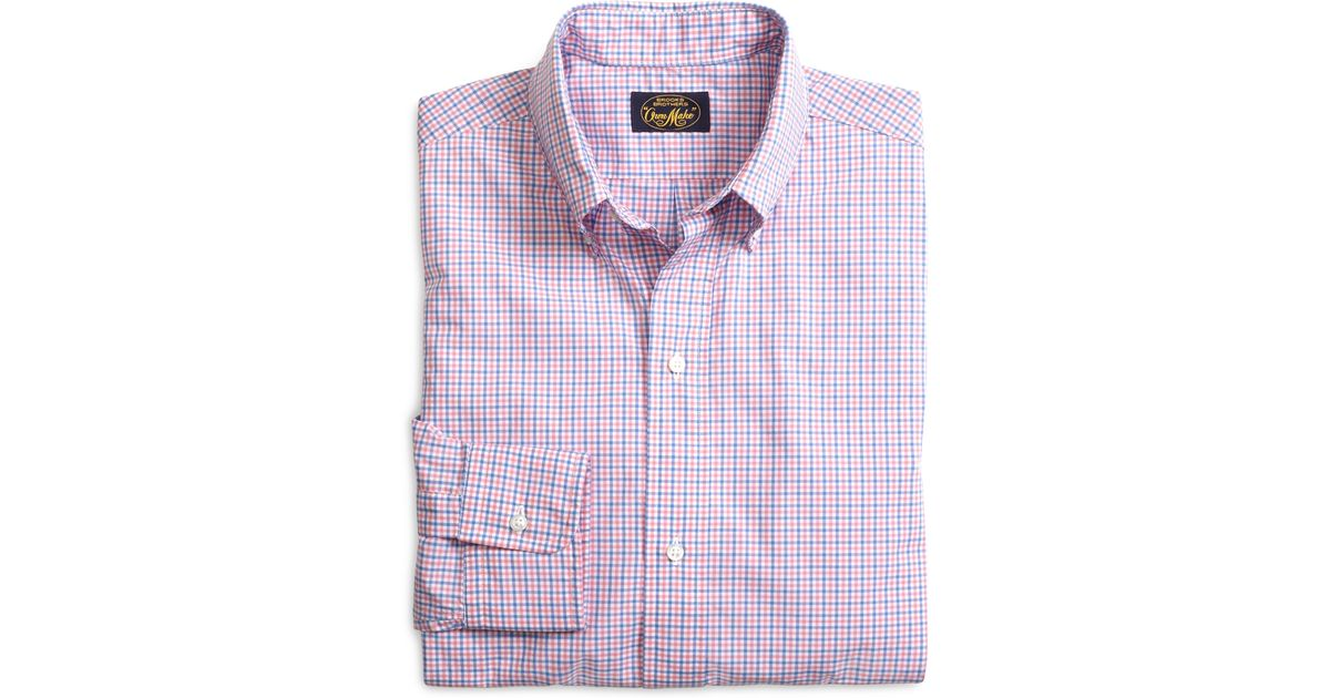 Lyst - Brooks brothers Own Make Pink And Blue Check Sport Shirt in ...